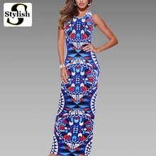 Maxi Dress Summer Bohemian Long Dress Boho 2016 New Fashion Sexy Sleeveless Print Bandage Tank Long Dresses For Women Clothing(China (Mainland))