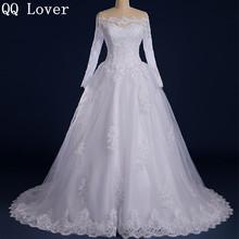 QQ Lover 2017 Vestido De Noiva Custom Made See Through Back Zipper Button Beaded Appliqued Long Sleeve Lace Wedding Dress(China (Mainland))