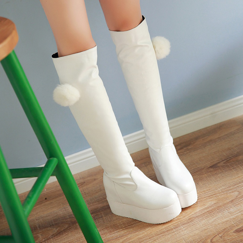 South Korean sweet style round toe knee high boots lovely bulbs platform white black increasing high-heeled womens riding boots<br><br>Aliexpress