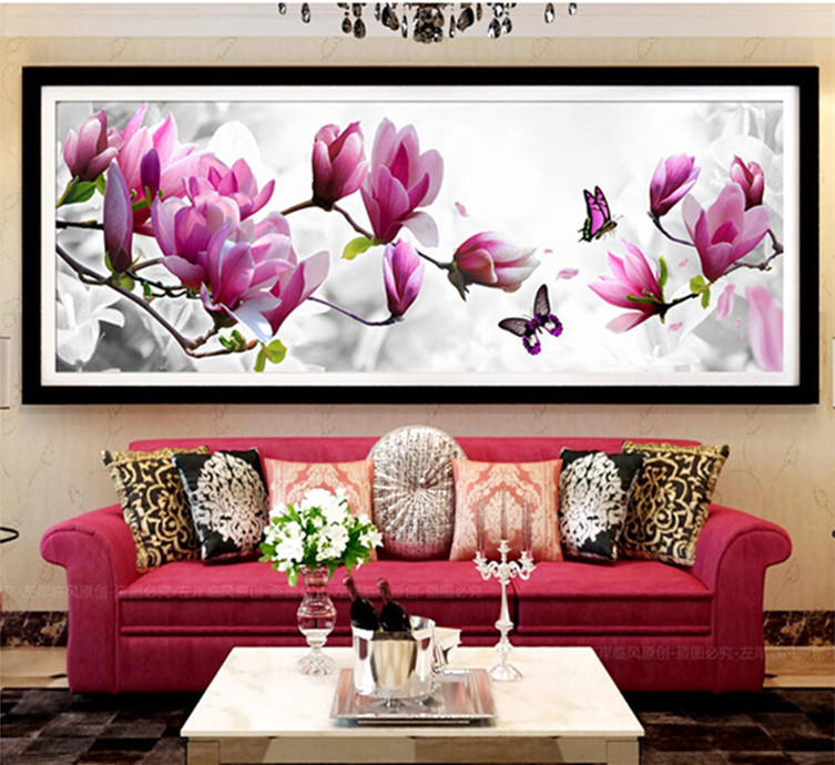 5d diy butterflies play magnolia diamond painting cross for Mosaic home decor