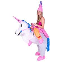 2016 Purim Unicórnio Inflável do Dia Das Bruxas Trajes Adultos Dos Miúdos Princesa Inflável Pegasus Outfit Fantasia Suit Partido Fancy Dress