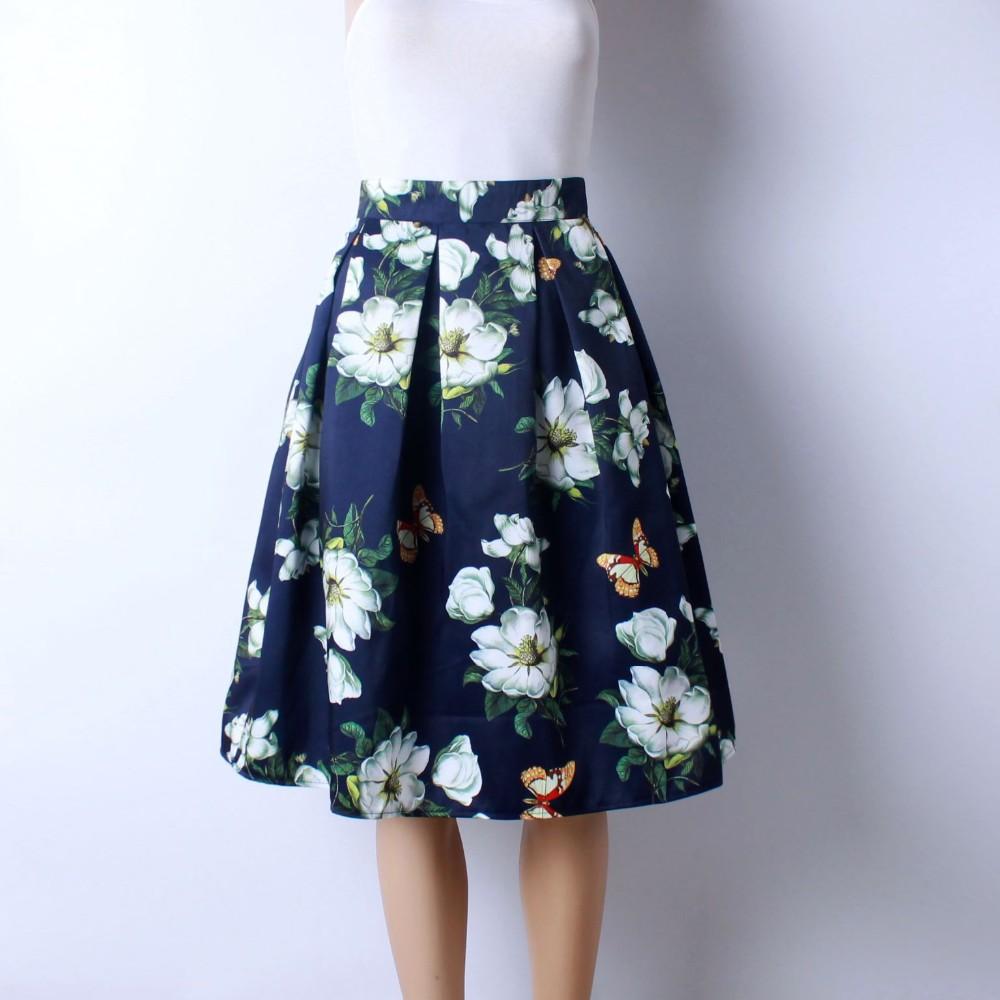 HTB1WsZJLVXXXXcxXVXXq6xXFXXX4 - GOKIC 2017 Summer Women Vintage Retro Satin Floral Pleated Skirts Audrey Hepburn Style High Waist A-Line tutu Midi Skirt