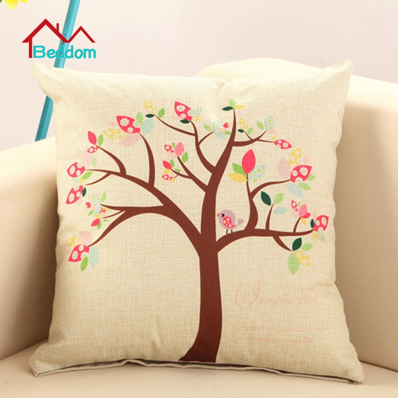 Beddom Tree printed Cotton Linen Sofa Cushion Embrace Pillow 45x45cm Throw pillow Home Car Decor Textile seat cushion(China (Mainland))