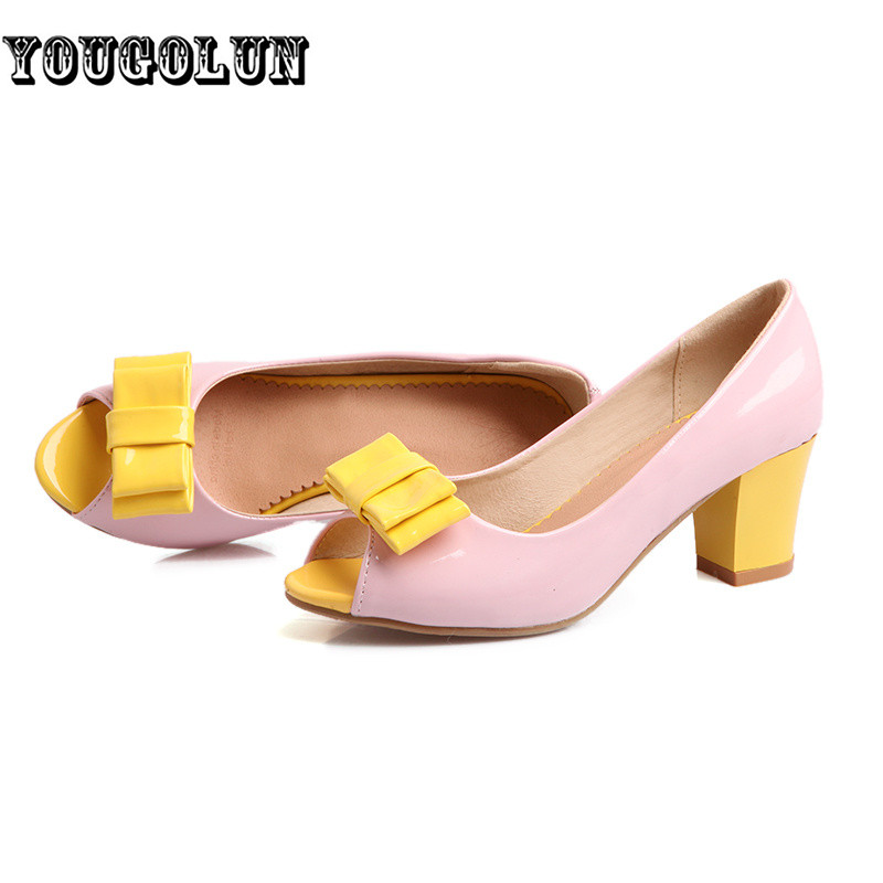 2016 Women med heels Pumps woman pink blue open peep toe casual Shoes ladies summer female fashion patent PU bowtie party shoes
