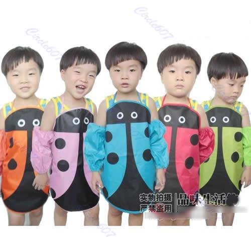 J35 Free Shipping 5pcs/lot Cute Ladybug Kids Kitchen Garden Fabric Craft Apron Lovely Child Pinafore New(China (Mainland))