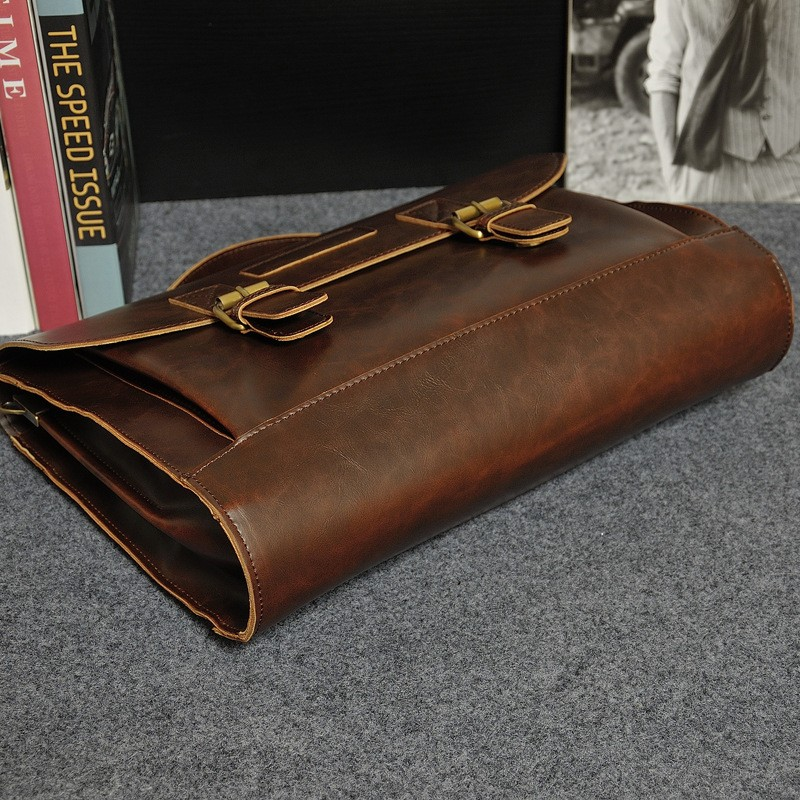 Vintage Men Business Real Genuine Leather Briefcase Travel Causal Shoulder Messenger Portfolio Laptop Bags Lawer Handbag Bolsa (10)