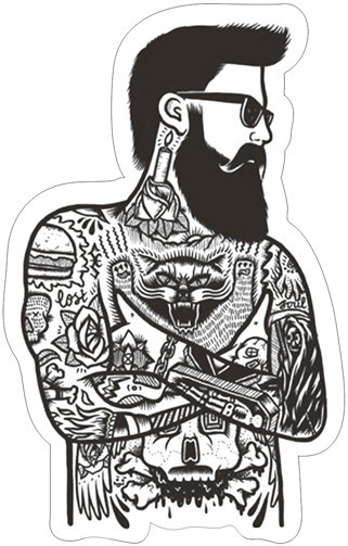 Min.order is $10(mix order)Waterproof Suitcase stickers Personalized Laptop stickers Bearded tattoo man tattoo[Single](China (Mainland))