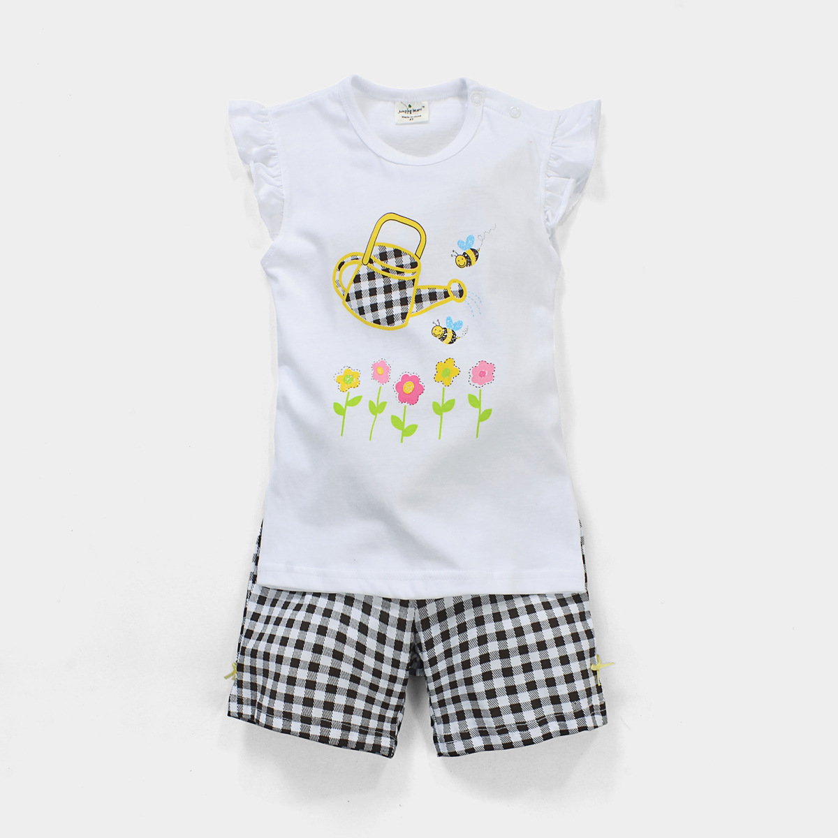 18M-6Y Girls Clothes Baby Girls Clothing Set Children Girls Suit Set Kids Outfits Cotton White Girl T shirt + Grid Shorts<br><br>Aliexpress