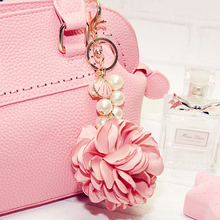 Buy Camellia Pearl Chain Keychain Bag Pendant Car Ornaments Creative Gifts Bag Flower Charm Key Chain Buckle Key Ring 8 Colors F1 for $4.99 in AliExpress store