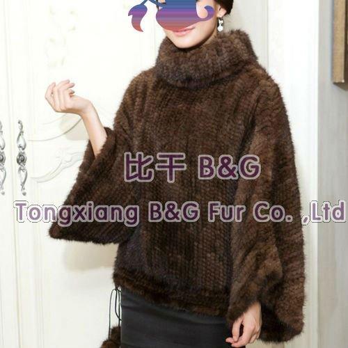 BG11640 2 Colors Genuine Knitted Mink Fur Poncho  Wholesale Women Fashion Poncho