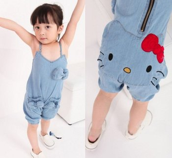 EMS DHL free shipping hot fashionable kid's Girls children autumn spring denim blue jeans suspender  2-7 years