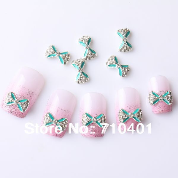 New Xmas Free Shipping Wholesale/ Nail Supplier, 50pcs 3D Alloy Blue Bowtie DIY Acrylic UV Gel Polish Tool Nail Design/ Nail art