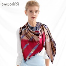 2016 New Autumn And Winter 100% Silk Scarf Women Fashion Big Square 106 x106cm Printed Silk Scarves Ladies Warm Shawls Hijab B21(China (Mainland))