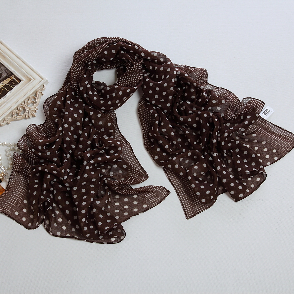 2015 Hot summer style Fashion polyester Voile Scarf women's shawls white dot printed black Scarves free shipping PP013BB(China (Mainland))