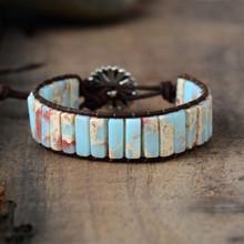 Regulowany Bohemia etniczne bransoletka dla z kamieniem naturalnym dla kobiet Leather Wrap koraliki na bransoletkę mężczyzn biżuteria Dropshipping(China)