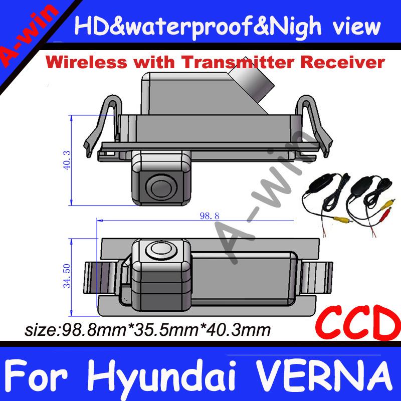 "Wireless car parking camera with HD CCD 1/3"" night vision 0.05lux back up camera for Hyundai VERNA car rear view camera(China (Mainland))"