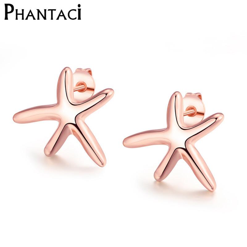 Free Shipping Elegant Sea Star Earrings Rose Gold Trepang Pattern Stud Earrings For Women Ladies Fashion Jewelry Wholesale(China (Mainland))