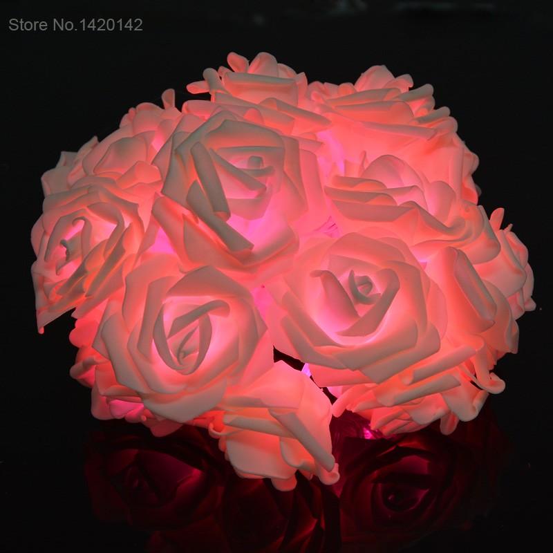 20LED Wedding Garden Party Christmas Decoration Lights Rose Flower Fairy String Lights Warm White/White/Pink SV010684(China (Mainland))