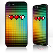 For iphone 4/4s 5/5s 5c SE 6/6s plus ipod touch 4/5/6 back skins mobile cellphone cases cover Retro Heart pixel
