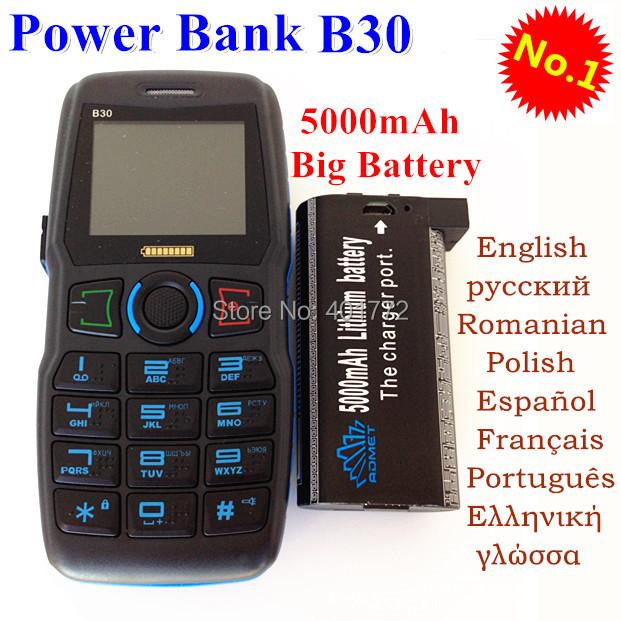 Power Bank Phone Original ADMET B30 5000mAh Big Battery/Speaker Flashlight Dual Sim Old Man People Senior Phone Russian Keyboard