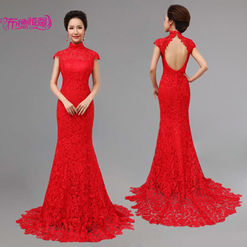 Red lace wedding dress chinese style cheongsam formal for Chinese style wedding dress