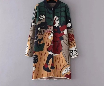 2016 Autumn and Winter Women's fashion graffiti loose sweater coat long section Women's Fashion Casual Knit jackes(China (Mainland))
