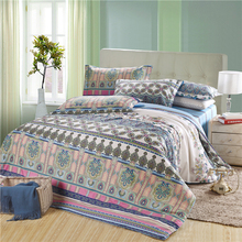 Promotion! American style exotic boho bedding set queen/king size blue comforter cover set with pastoral bedsheet(China (Mainland))