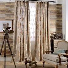 European style luxury jacquard curtains for living room 3 colours modern jacquard tulle finished curtains window treatments L-15(China (Mainland))