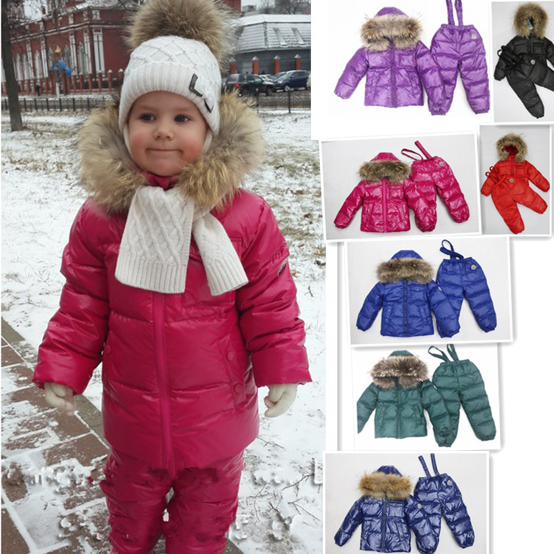 Children winter font b clothing b font set girls font b boys b font ski Snowsuit