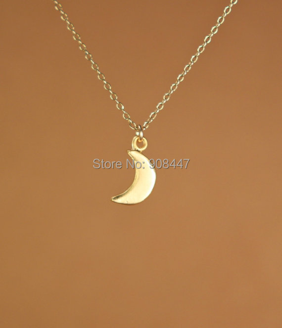 2015 New Gold and silver Simple Crescent Moon Women Necklace Plain Half Moon Pendant Necklaces for Women Couple Necklace(China (Mainland))