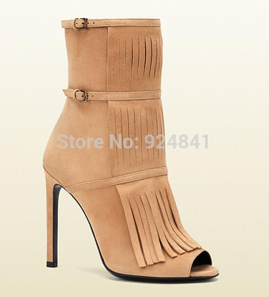 Best Leather Bootie Peep Toe Tassel Buckle High Heel Ankle Boot Suede Party Shoes Women Orange Red Black Tan