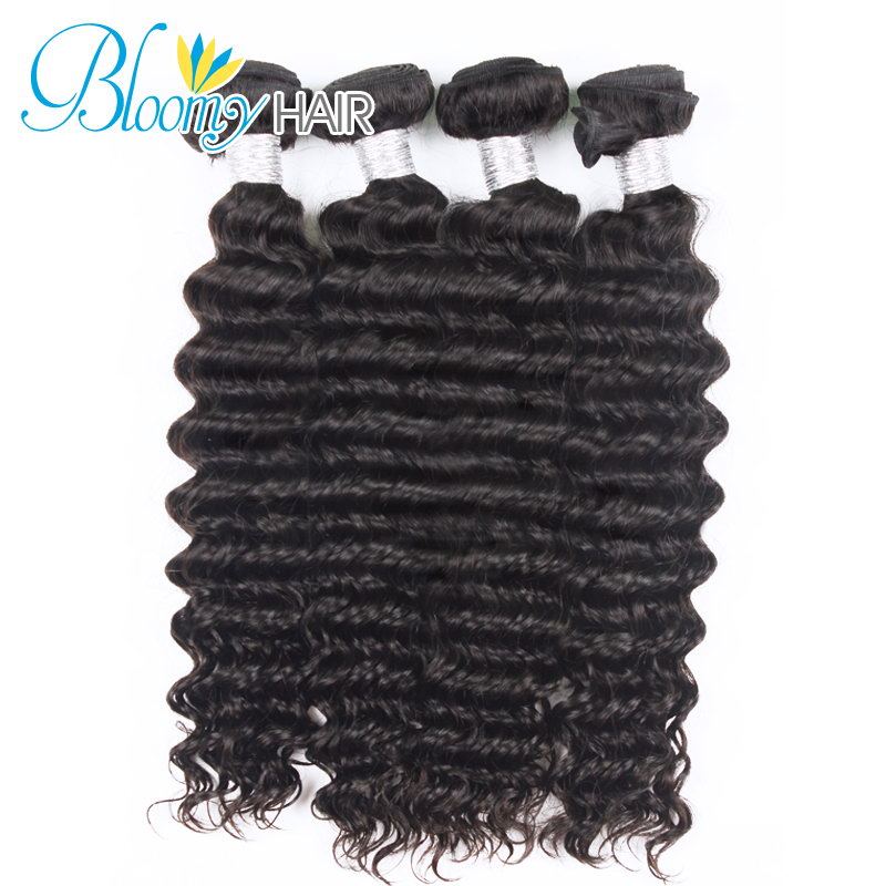 Bloomy Hair Tatyana Wstco Deep Wave Brazilian Virgin Hair 3pcs Hair Weft with 1pc Lace Frontal Closure 7A grade