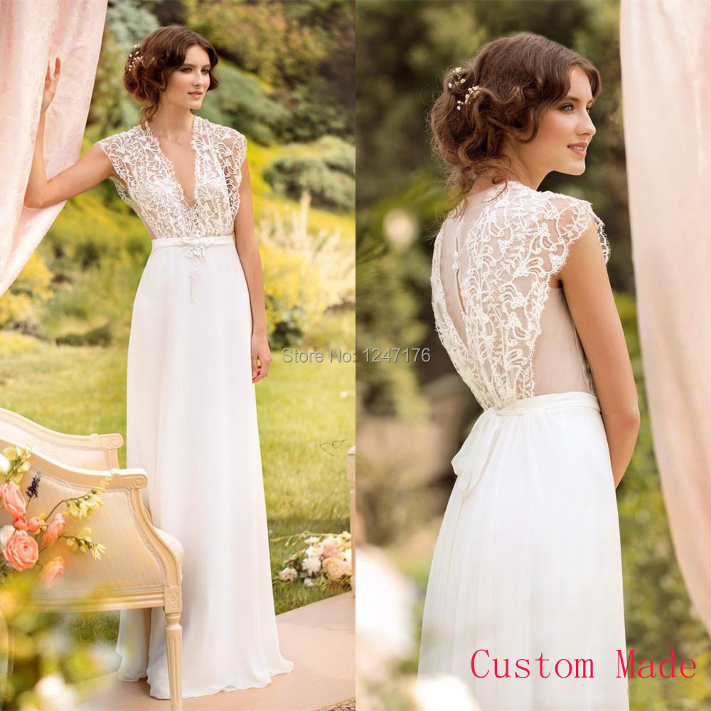 2016 custom made v neck lace chiffon garden sexy wedding