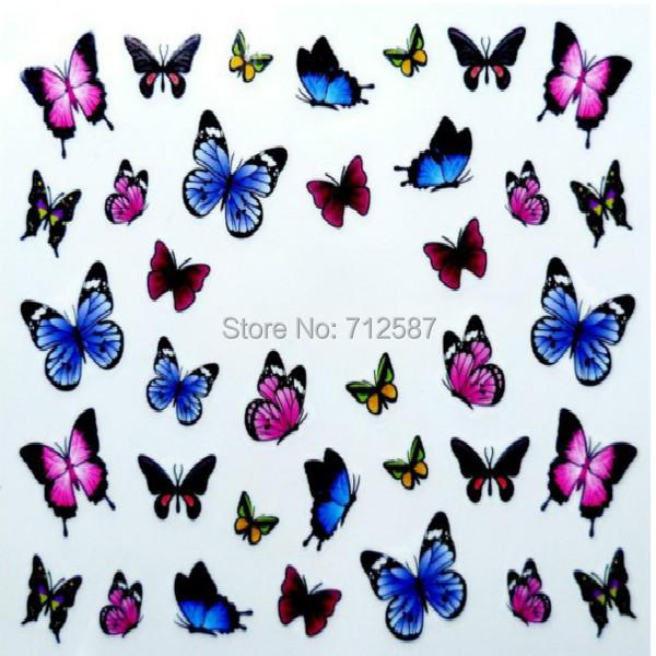 3D Design cute DIY watermark butterflies Tip Nail Art Nail Sticker Nails Decal Manicure nail tools(China (Mainland))