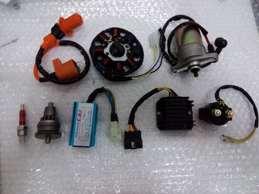 Фотография GY6 50cc  Motor Assy Starter,Clutch,RECTIFIER,CDI ,STATOR COMPONENT-8, Relay for 139QMB Scooter ATV Go Karts Moped Engine Parts