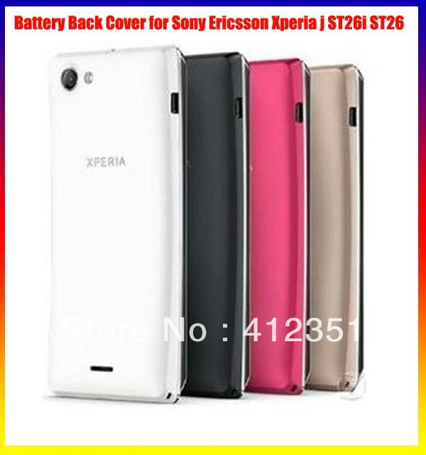 Black/White/Red/Golden New Original housing back battery cover case door For Sony Ericsson Xperia j ST26i ST26 , Free shipping(China (Mainland))