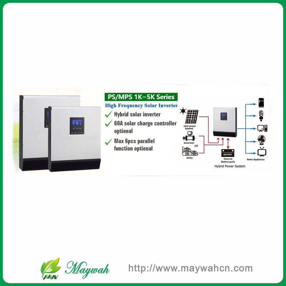 48VDC 4000VA Peak Power 8000VA Pure Sine Wave Solar Hybrid Inverter Built-in 60A MPPT Controller With Communication LCD(China (Mainland))