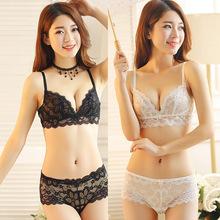 BRA SET Fashion Lace Sexy Thin Deep V-Neck Push Up Women Ultra-Thin Transparent Sexy Lace Bra Girls Underwear Sets(China (Mainland))
