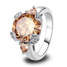2015   Vogue Champagne Morganite 925 Silver Fashion Ring Size 6 7 8 9 10 11 12  For Free Shipping Wholesale