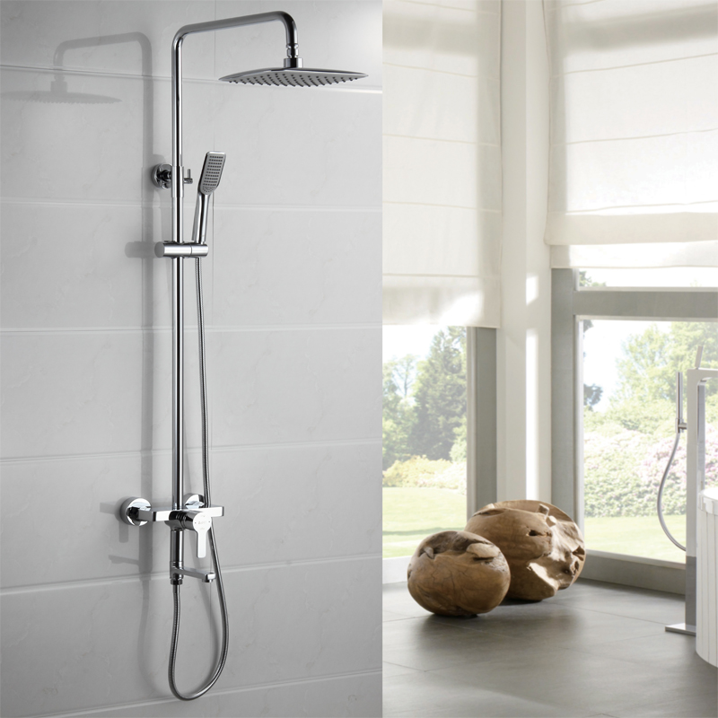 "Bathroom Bath & Shower Set Faucet Single Handle 8"" Rainfall Shower Head Shower System with Handheld(China (Mainland))"