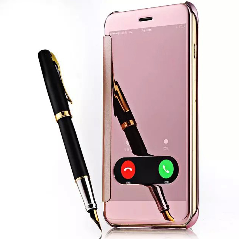Deluxe Window Clean View Mirror PU Leather PC Case For iPhone 6 6S 4.7 Inch Luxury Hard PC Flip Cover For iPhone 6 6 6plus Coque(China (Mainland))