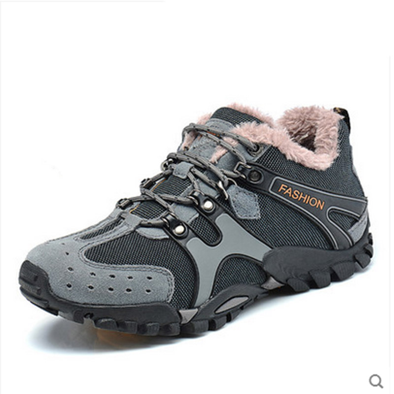 Men Shoes 2015 Winter Genuine Leather Boots With Fur Outdoor Breathable Snow Boots Fashion Brand Sport Men Climbing Shoes(China (Mainland))
