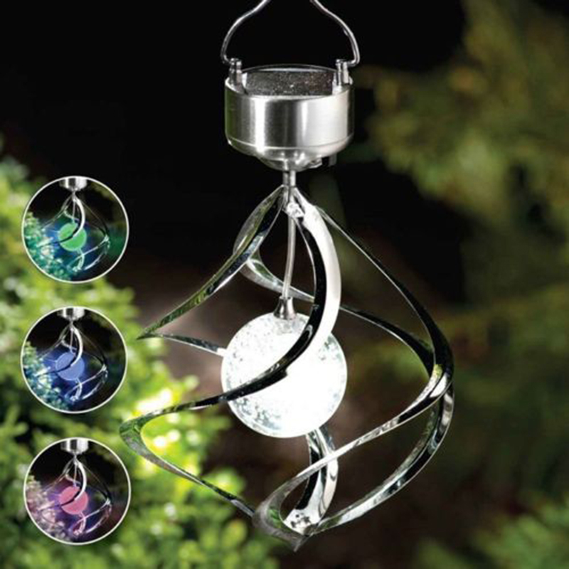 Solar Powered Color Changing Wind Spinner LED Light Hang Spiral Garden Lawn Lamp(China (Mainland))