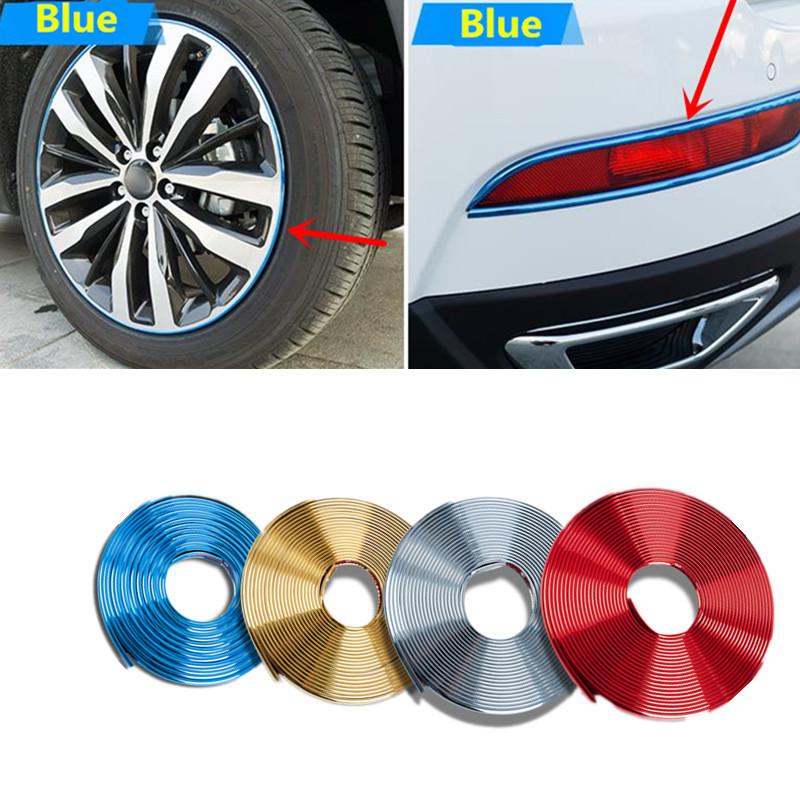4Mx8mm Car Chrome Plating Exterior Rim Door Grill Sticker Headlight Wheel Hub Decoration Trim For Nissan Toyota Hyundai Audi BMW(China (Mainland))