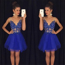 Vogue Royal Blue Designer Prom Gowns Deep V-Neck Tulle A-Line Prom Dress Sleeveless Short Evening Wear For Ladies(China (Mainland))