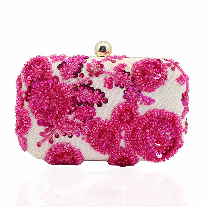 Luxurious Crystal Beading Evening Bag Women Flower Dress Clutch Bags Hard Clutch Purse Crystal Party Bag Banquet Wallet JXY424(China (Mainland))