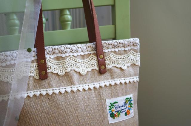 Women Shabby Chic Lace Handbags Handmade Etsy Vintage Retro Wedding Crochet Cotton Lace Feminine Leather Handle Big Totes Bags(China (Mainland))