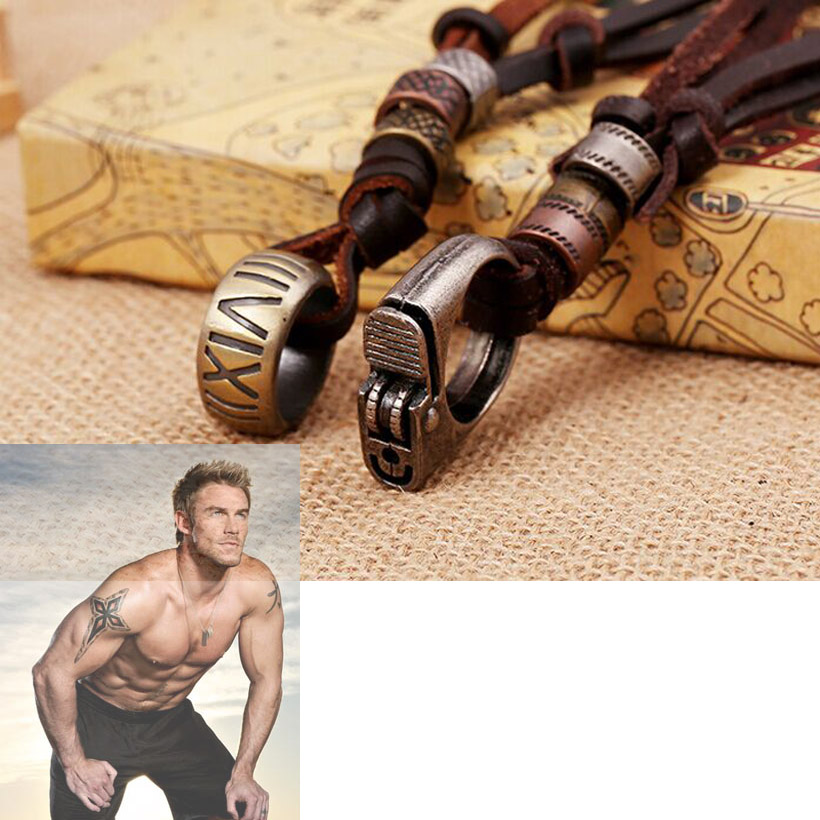 100% genuine leather male pendent necklace 2016 handmade cowhide leather men charm pendent punk jewelry resizable(China (Mainland))