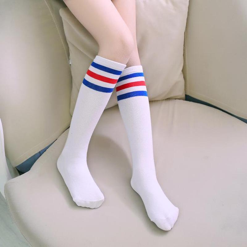 Колено носки дети ткань в полоску белый девочки колено высокая носки 4 цвета носки для дети утолщенной 37 cm / 14.6
