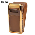 100 240V 2 in 1 KEMEI Electric Reciprocating Shaver Razor Vintage Leather Wrapped Portable Men s
